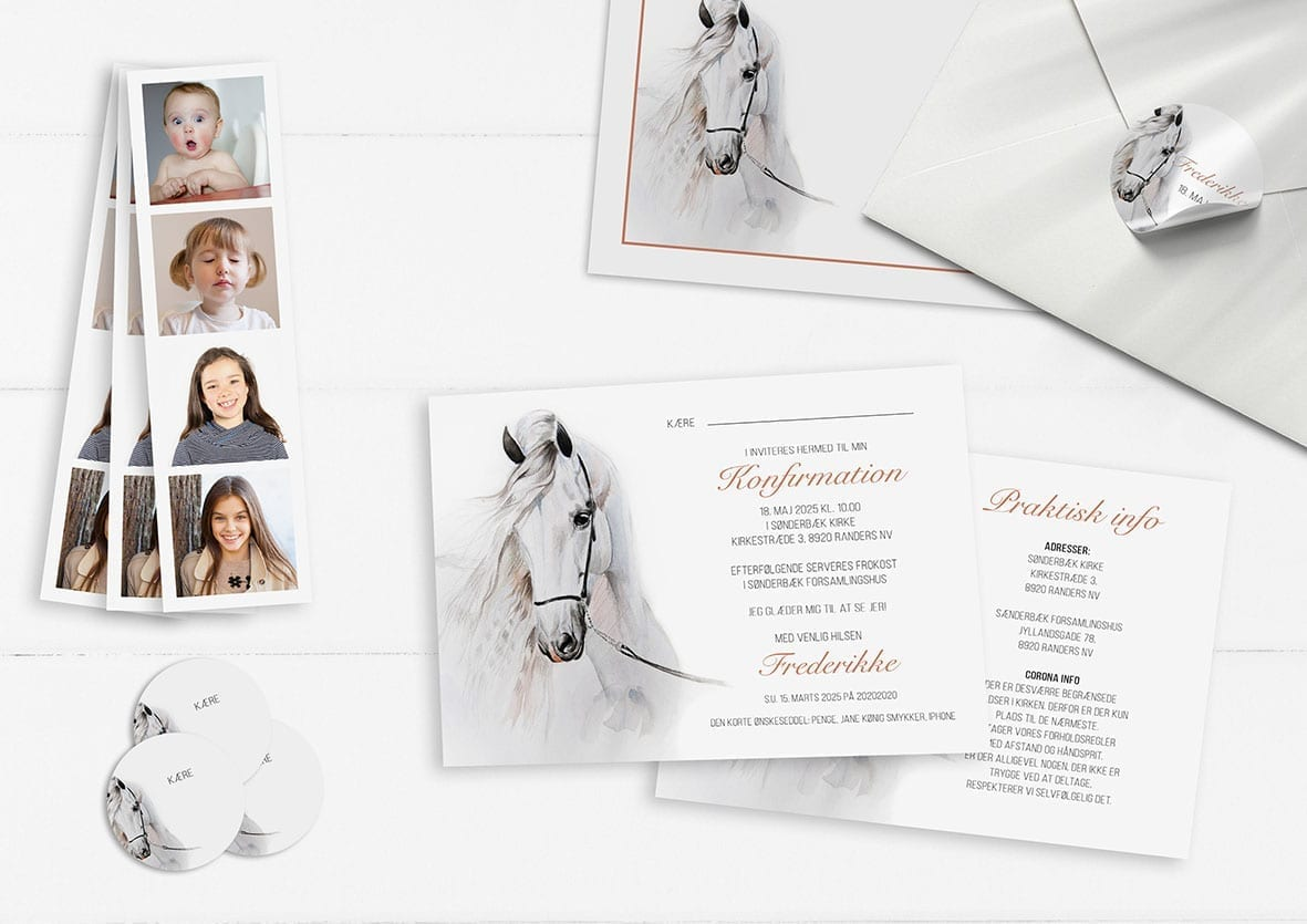 Watercolor Horse invitation konfirmation