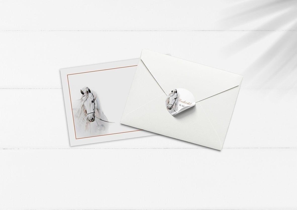 kuvert pakke med stickers hestetema konfirmation hest