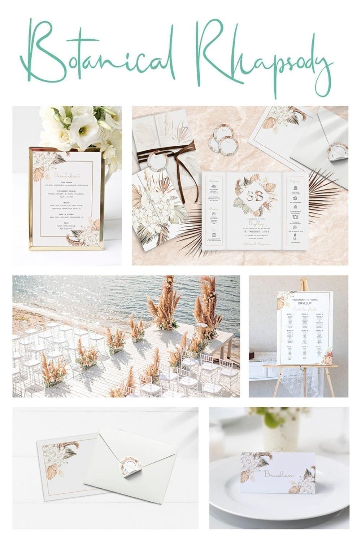 Kortserie bryllup natur beige botanical rhapsody