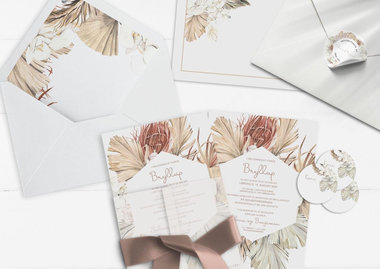 invitation botanical rhapsody tørrede blade og blomster i brændte farver