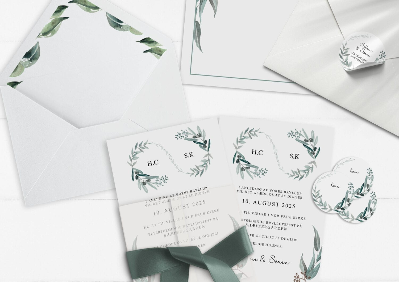 invitation Eucalyptus delight simpelt initialer