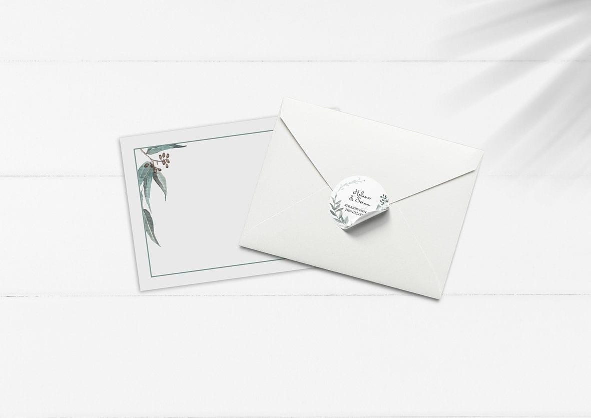 kuverter og klistermærker til invitation