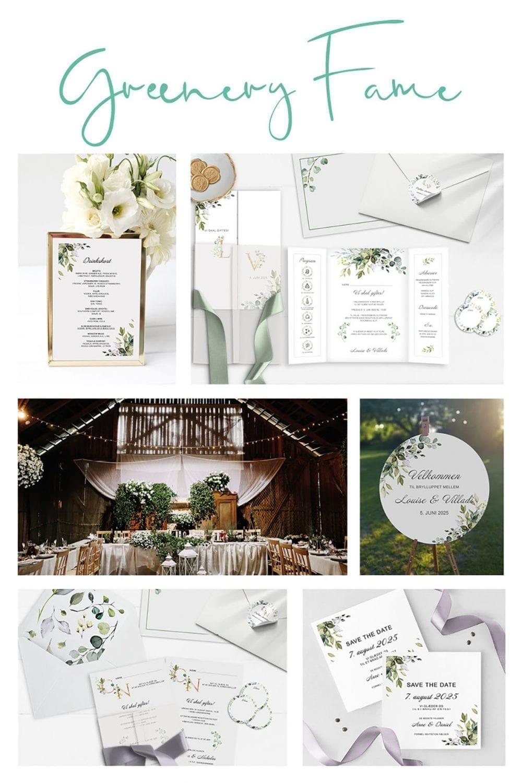 Kortserie bryllup grøn naturtema