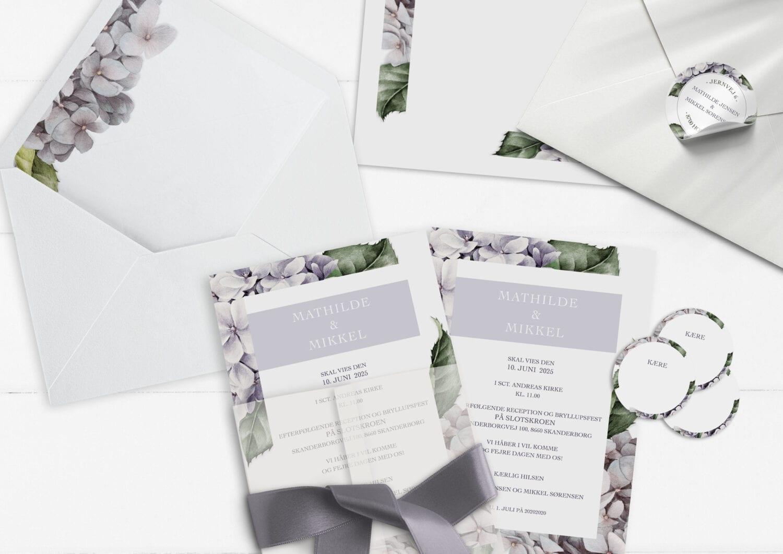 invitation lavender hydrangea smuk og simpel invitation