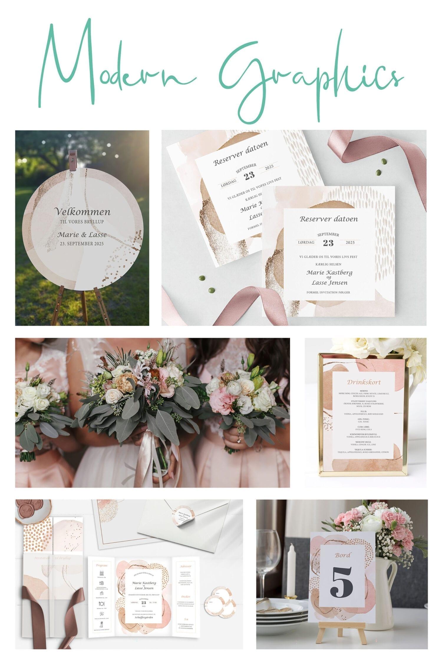 Kortserie bryllup moderne grafisk rosa