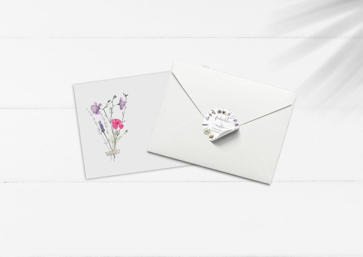 kuverter med blomster