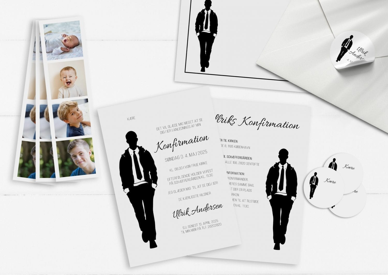 Invitation konfirmation dreng enkelt stilet