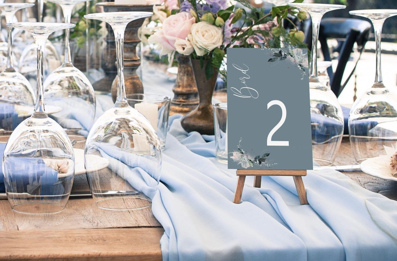 bordnummer, blue beyond, fest, pynt opdækning, bordopdækning