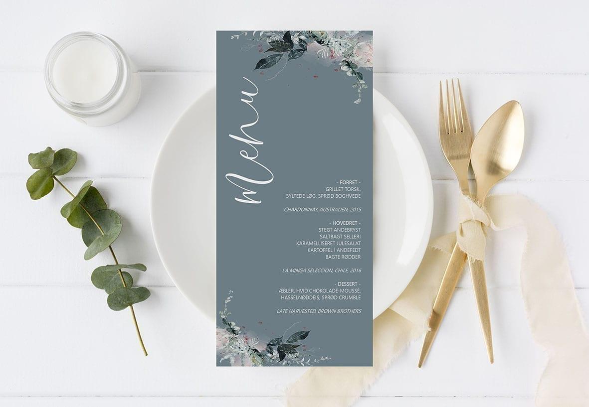 menukort blå skandinavisk romantisk