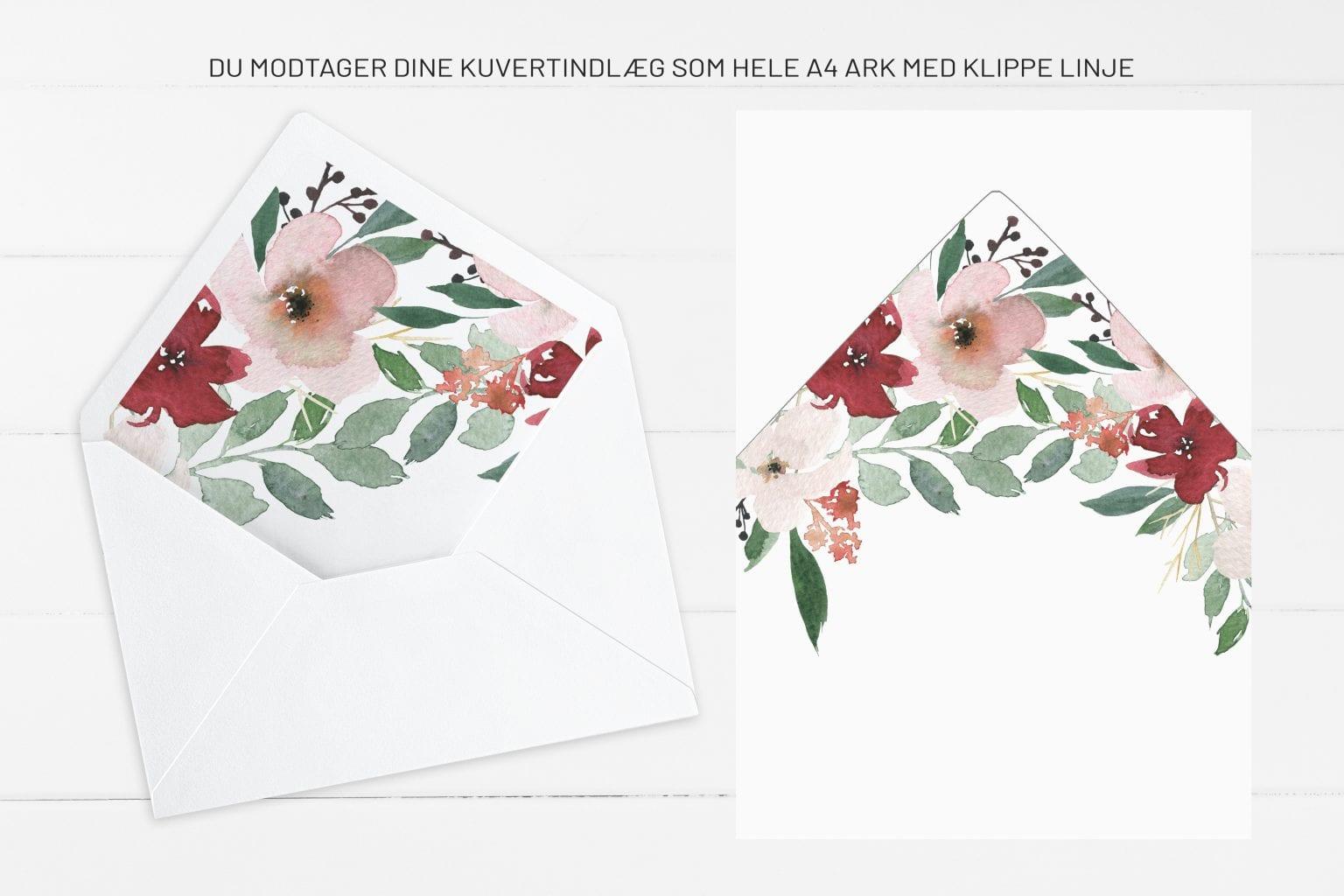 Blush Blossom, kuvertindlæg, bryllup