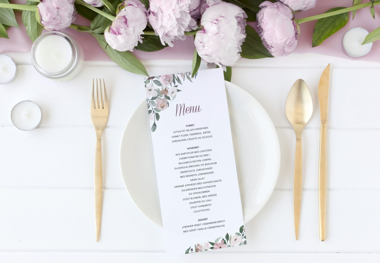 Blush Blossom, menukort, bryllup