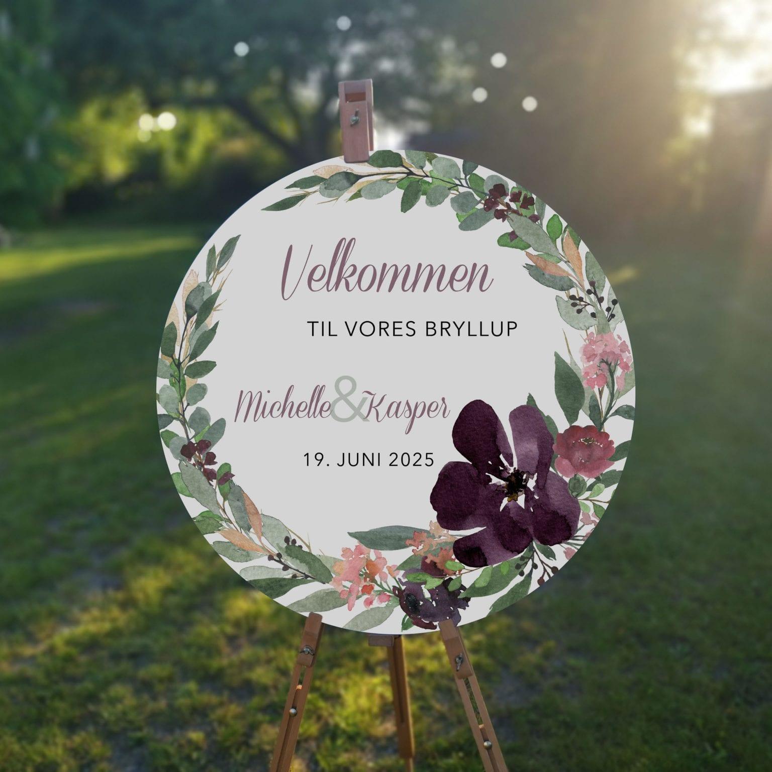 Blush Blossom, velkomstskilt, bryllup