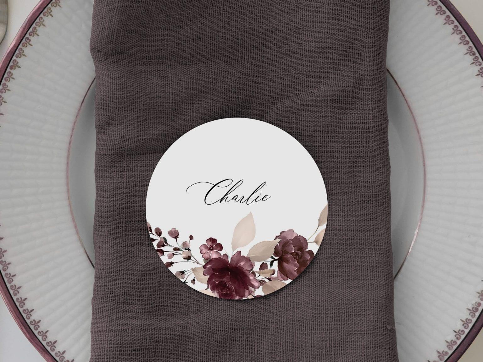 Bordeaux Bloom, runde bordkort, bryllup