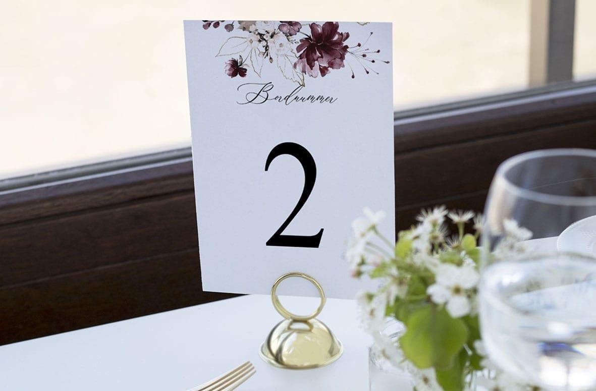 bordnummer, bordeaux bloom, fest, pynt opdækning, bordopdækning