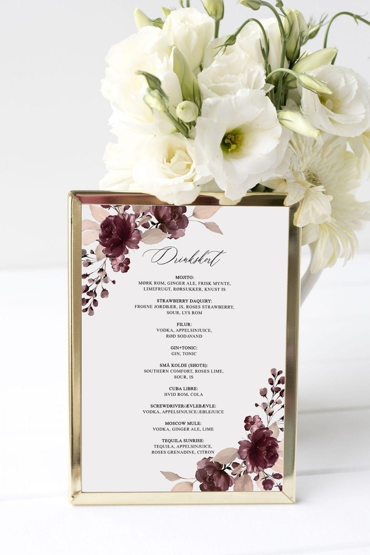 drinkskort, ramme, bordeaux bloom, bryllup
