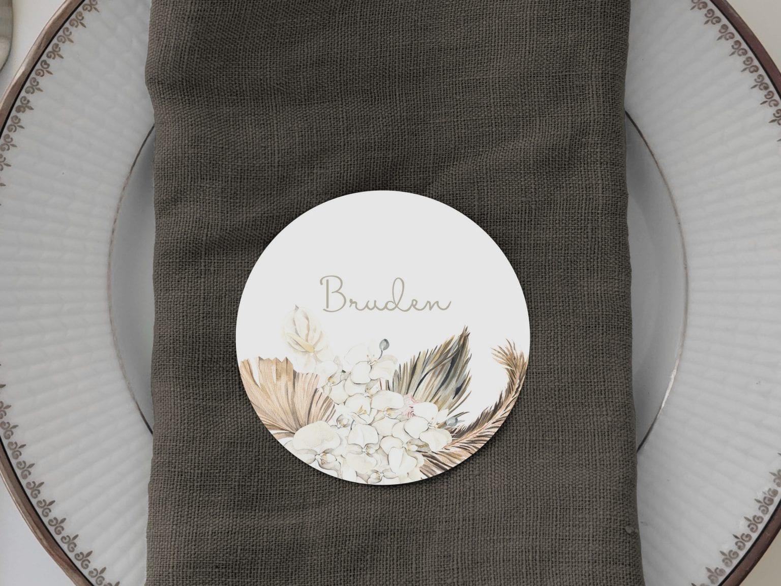 Botanical Rhapsody, runde bordkort, bryllup