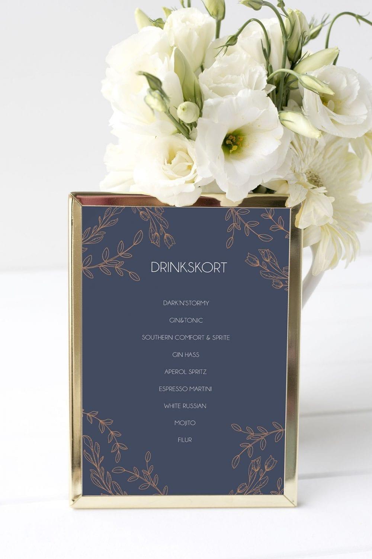 drinkskort, ramme, branch bronze, bryllup
