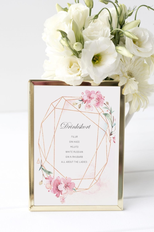 Cherry Blossom, drinkskort, bryllup
