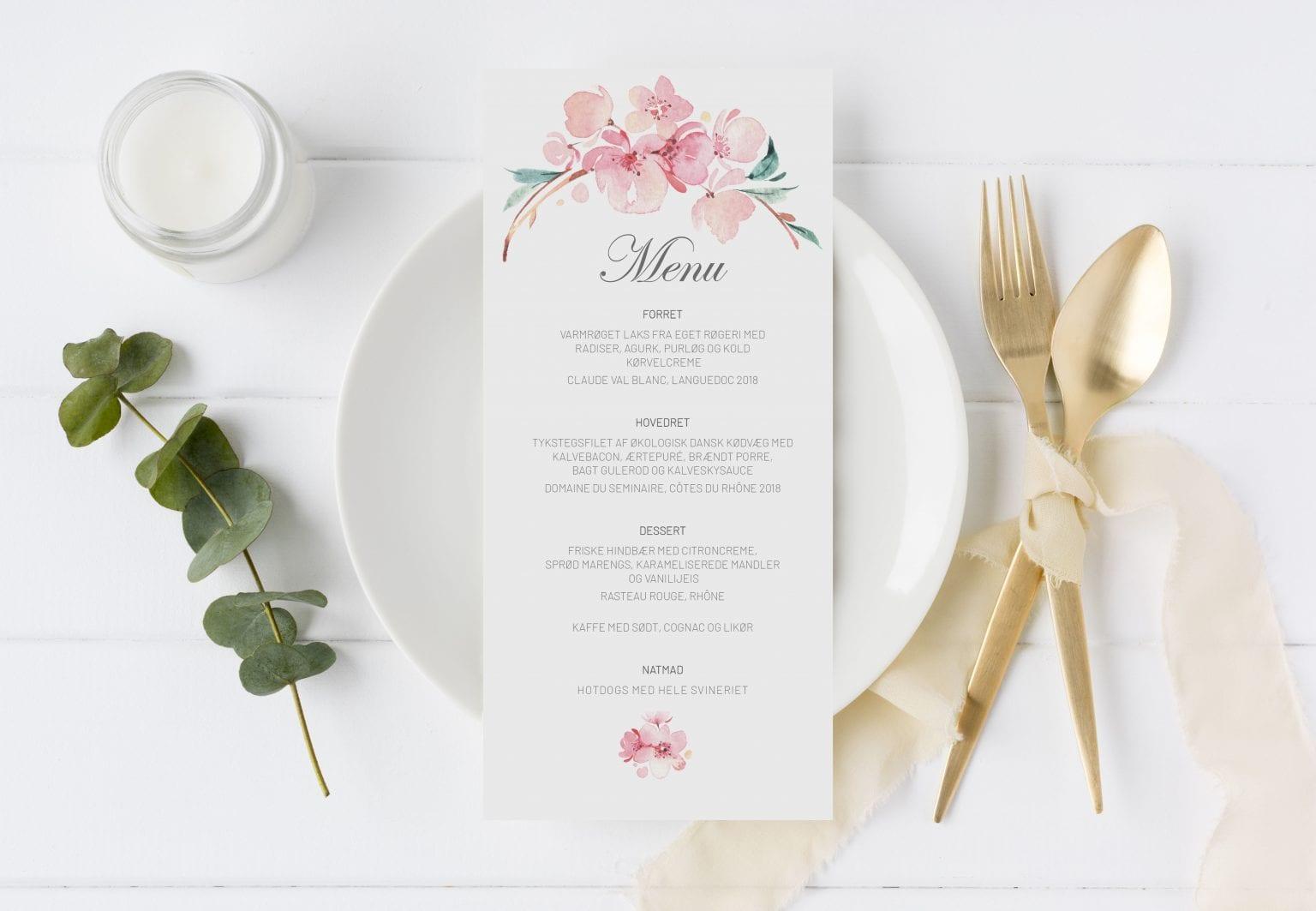 Cherry Blossom, menukort, bryllup