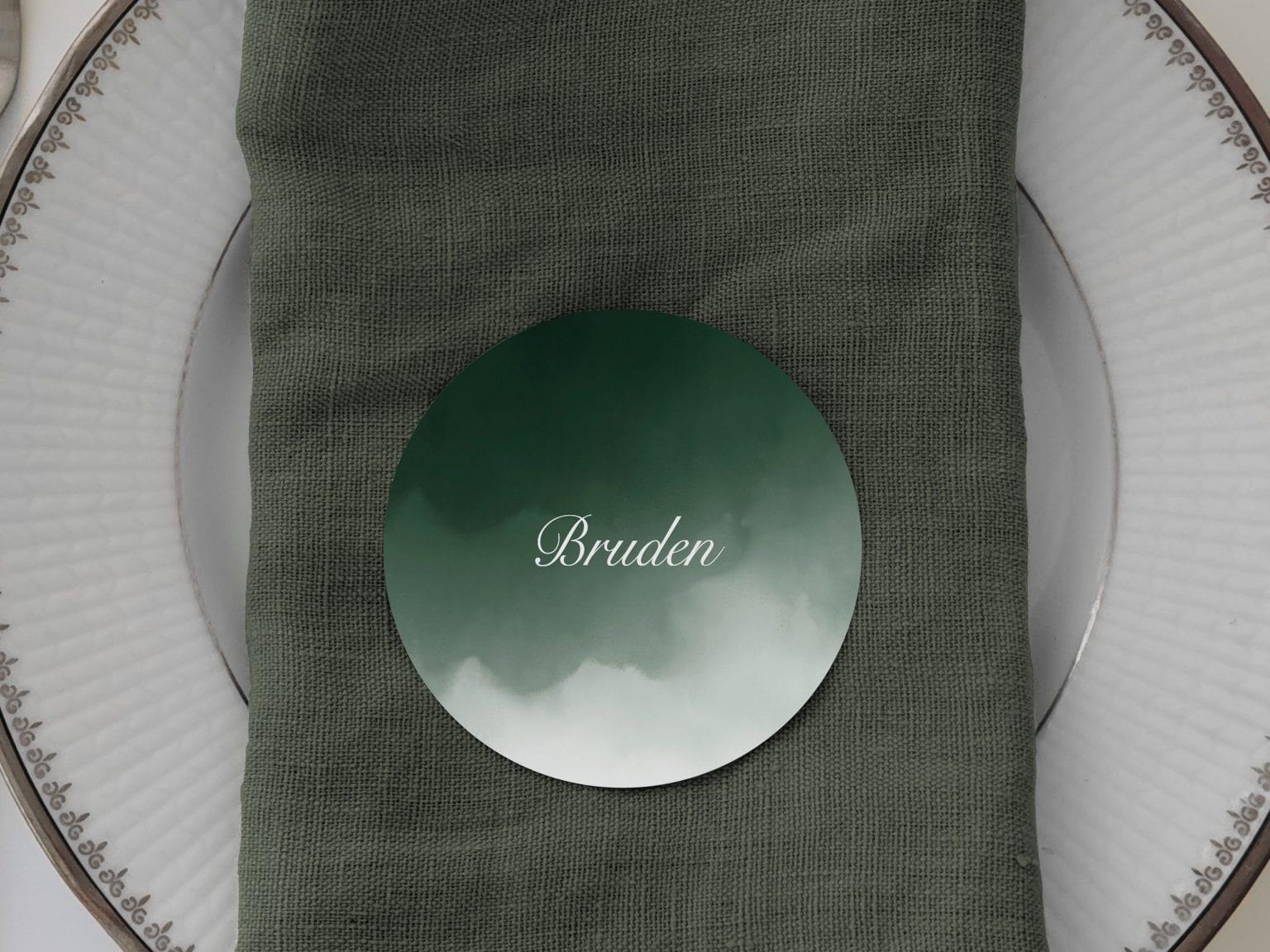 Dark Green, runde bordkort, bryllup
