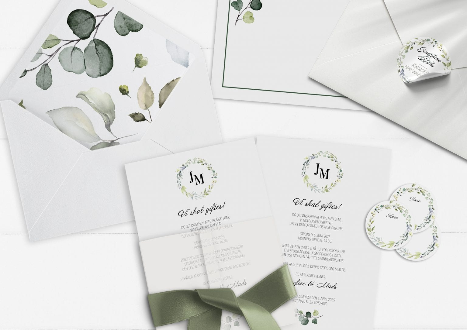 Dusty Green, invitation, bryllup