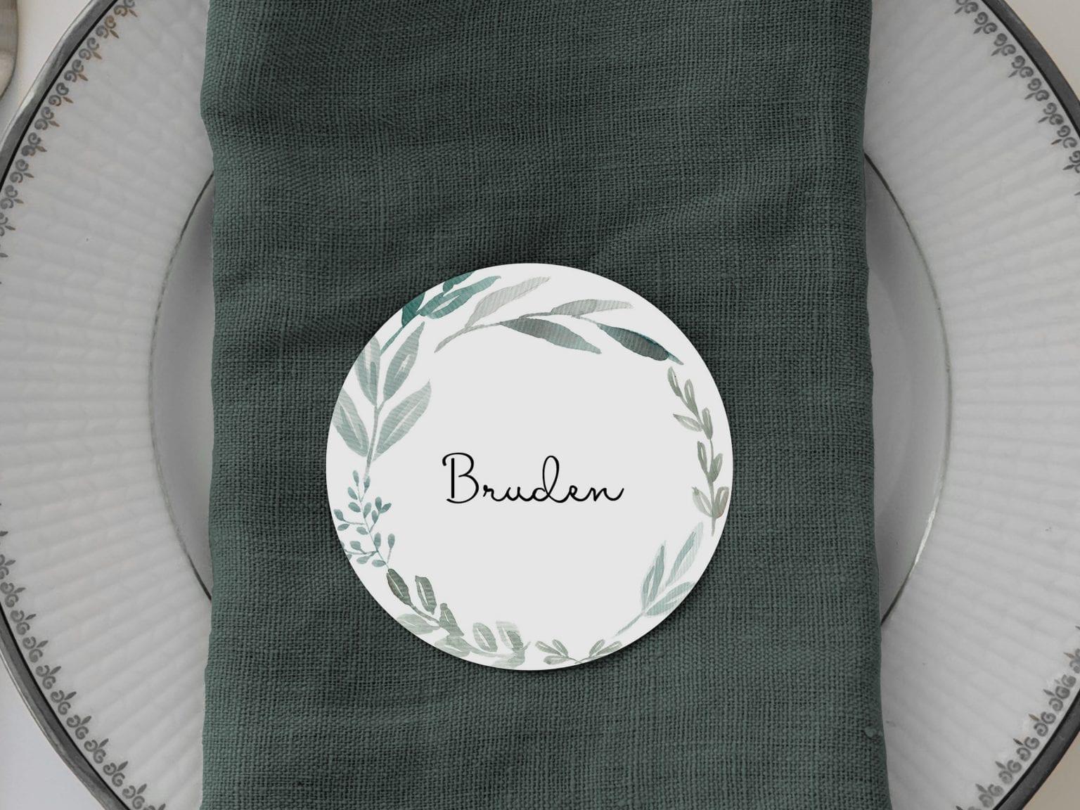 Eucalyptus Delight, runde bordkort, bryllup