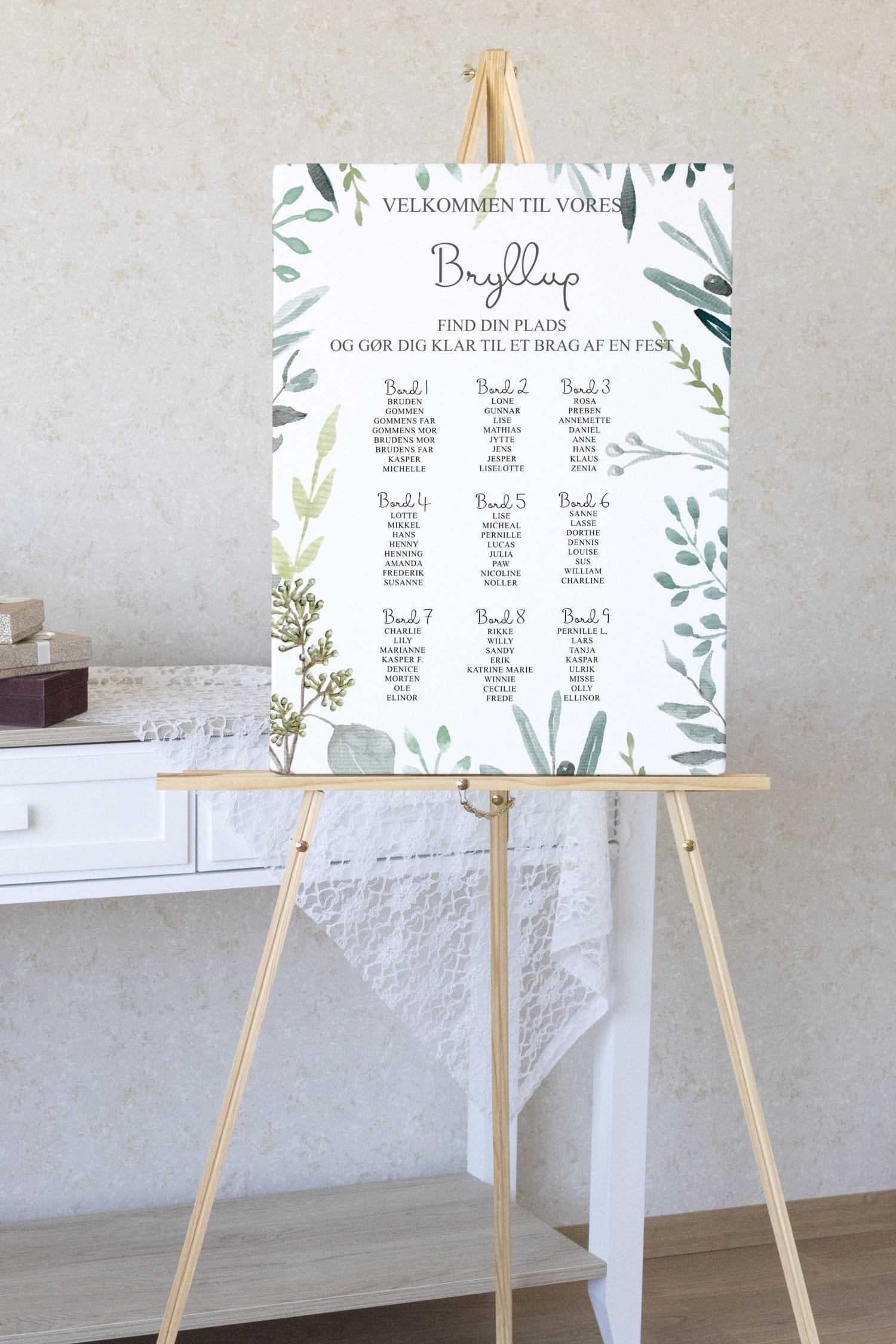 Eucalyptus Delight, bordplan, bryllup