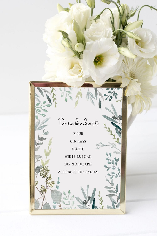 drinkskort, ramme, eucalyptus delight, bryllup
