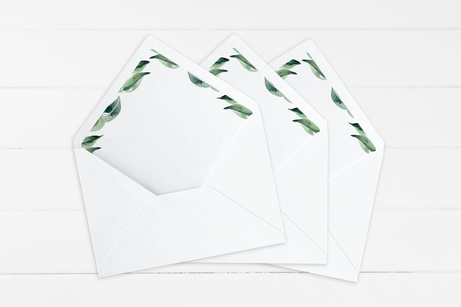 Eucalyptus Delight, kuvertindlæg, bryllup