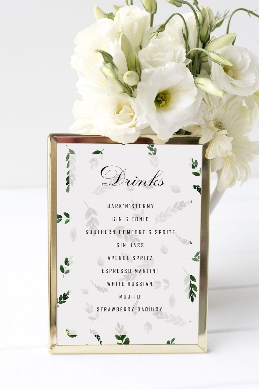 drinkskort, ramme, fallen grace, bryllup