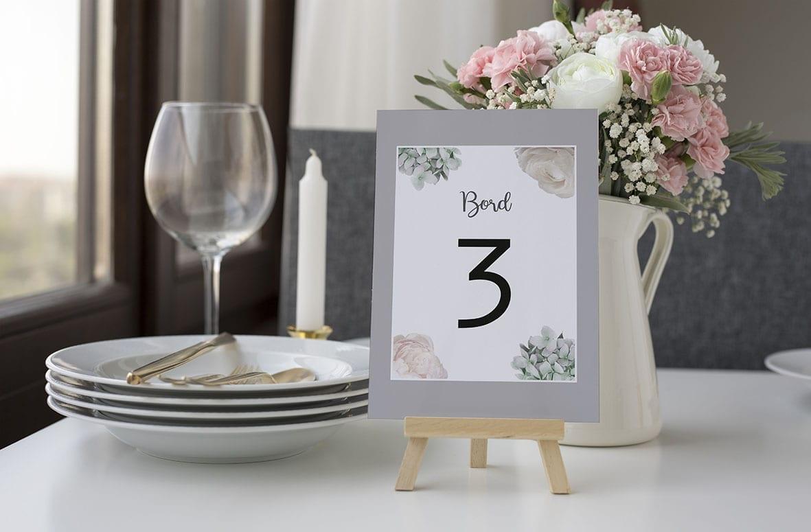 bordnummer, flower dream, fest, pynt opdækning, bordopdækning