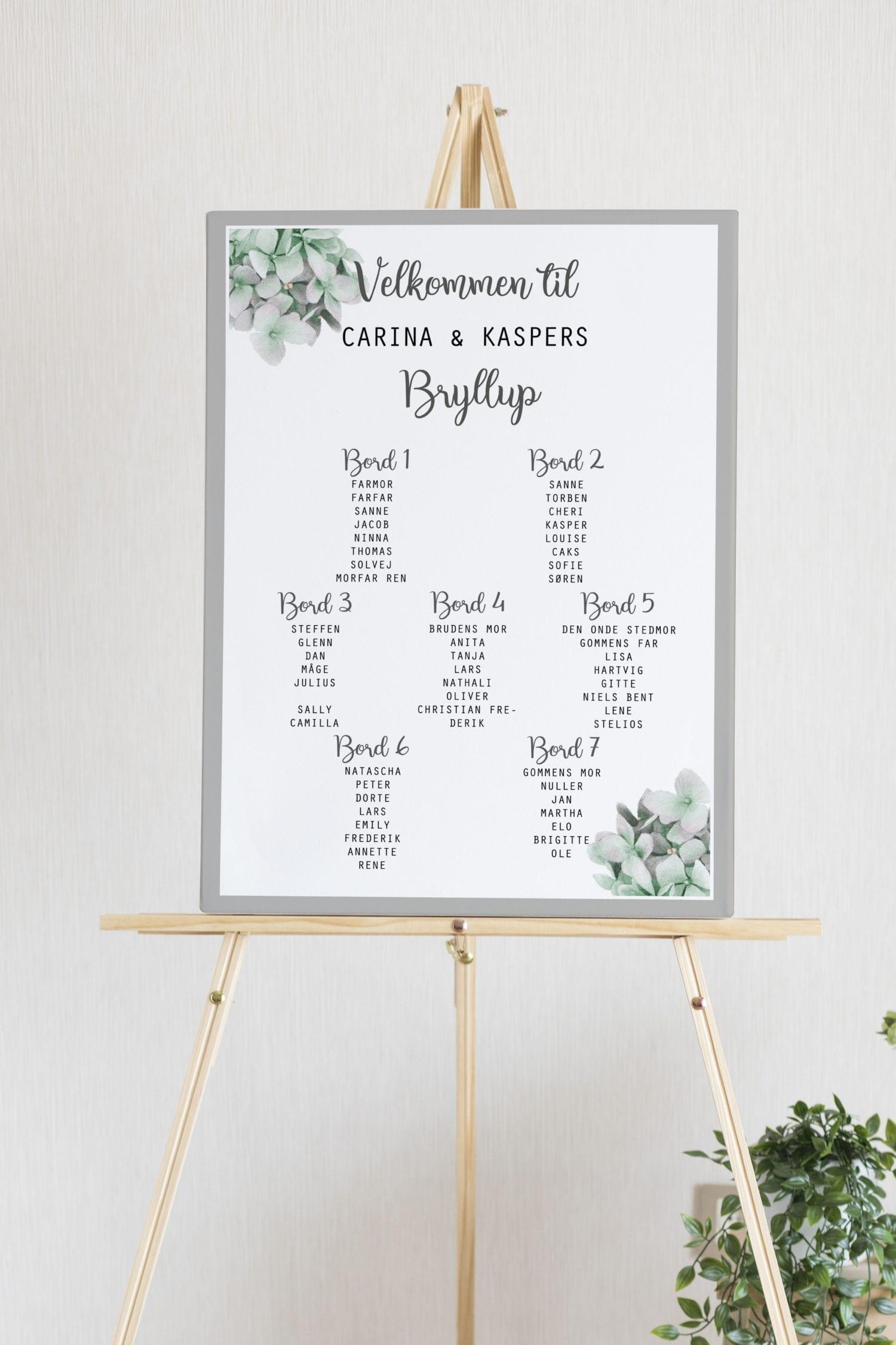 Flower Dream, bordplan, bryllup
