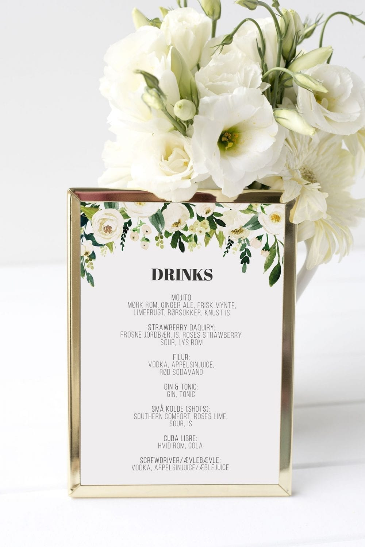 drinkskort, ramme, go traditional, bryllup