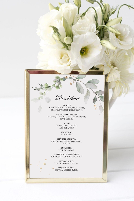 drinkskort, ramme, gold leaf, bryllup