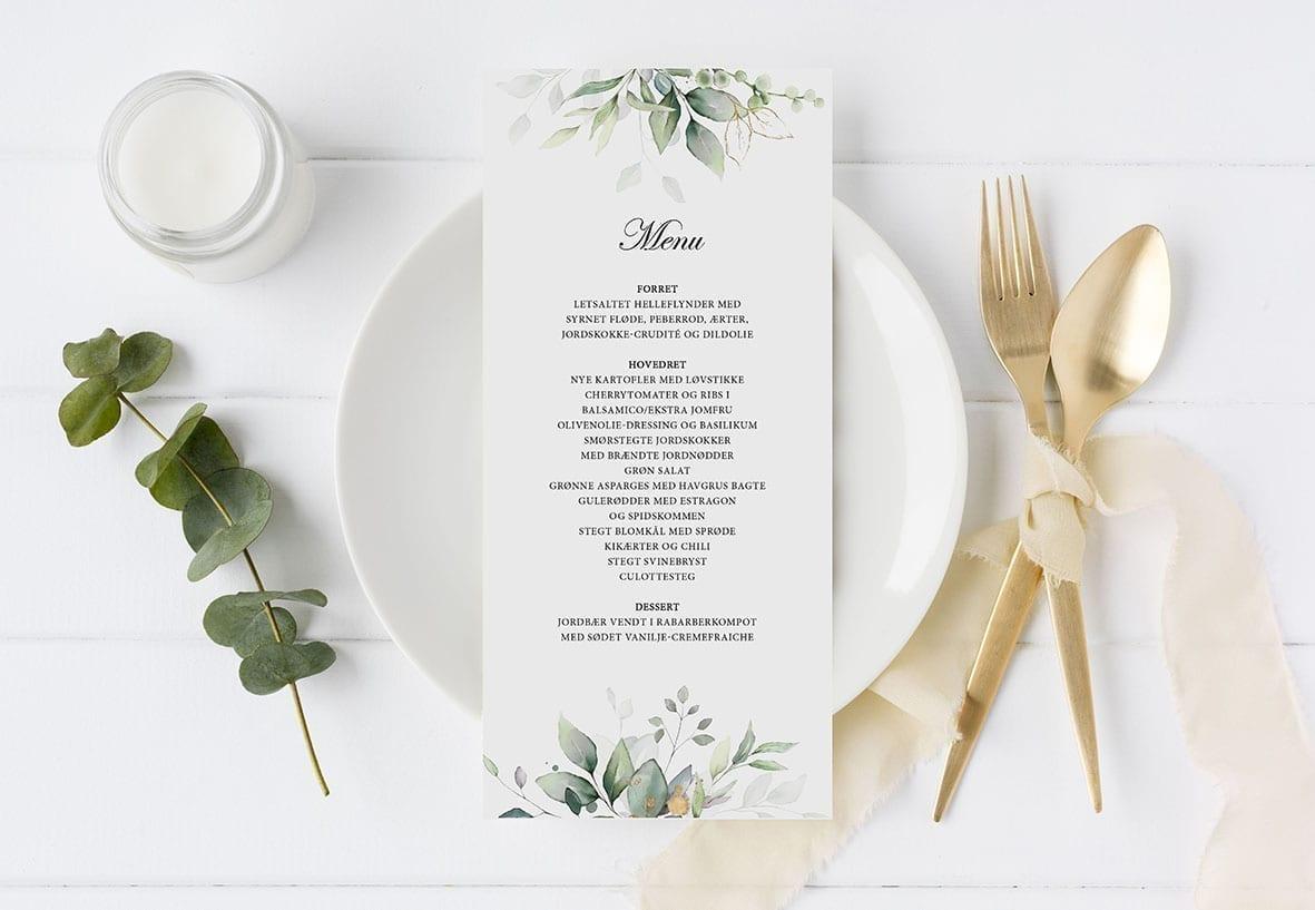 menukort blade og guld