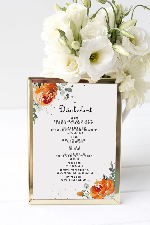 drinkskort, ramme, golden bouquet, bryllup