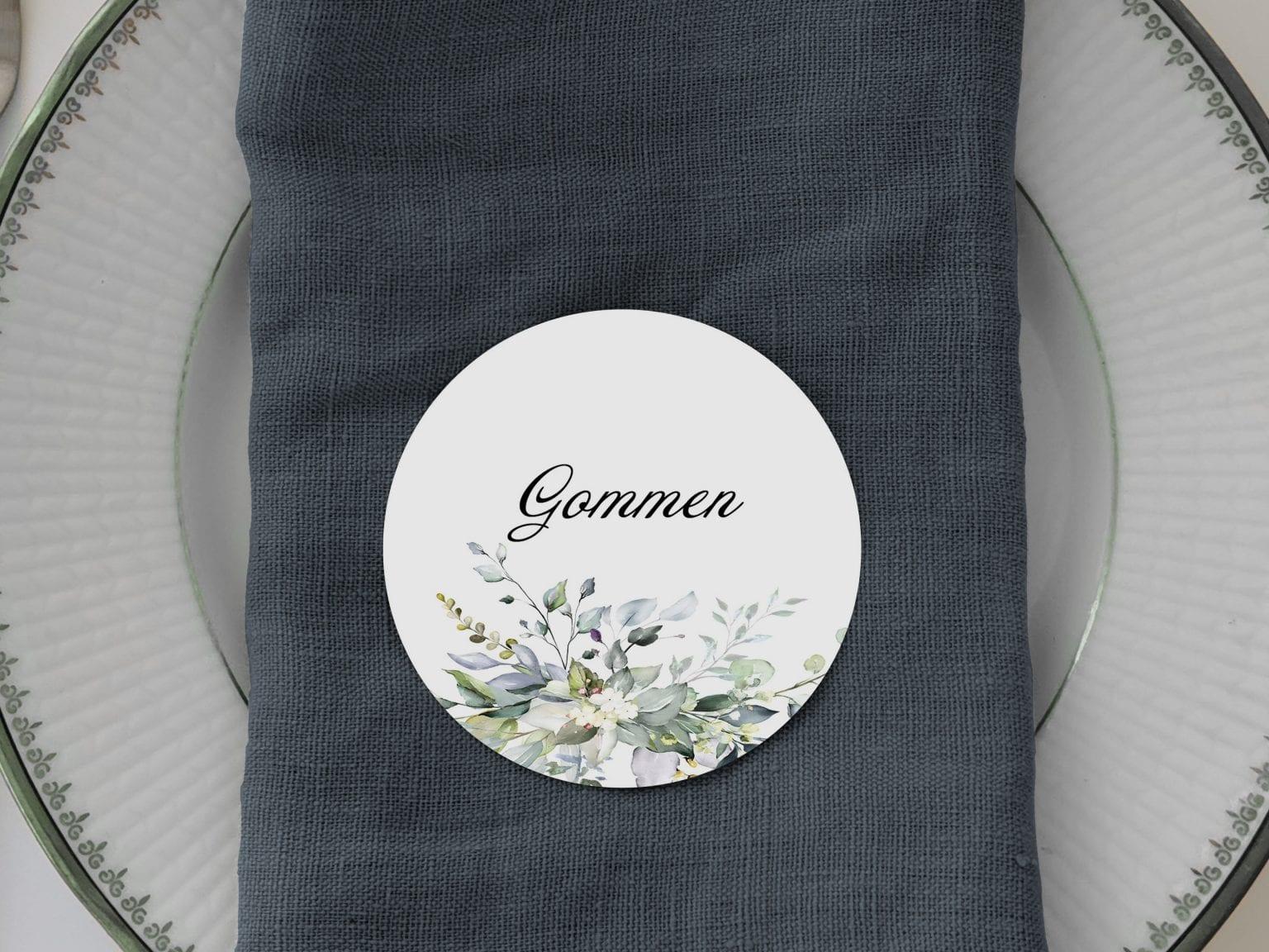 Greenery Fame, runde bordkort, bryllup