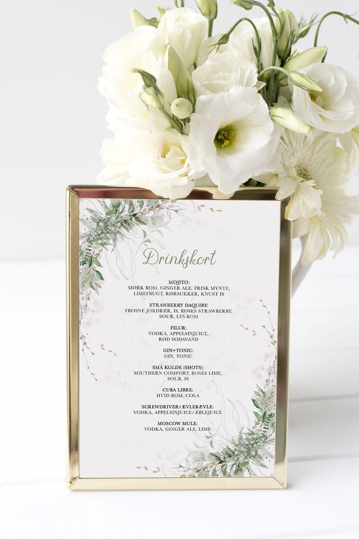 drinkskort, ramme, greenery kalker, bryllup
