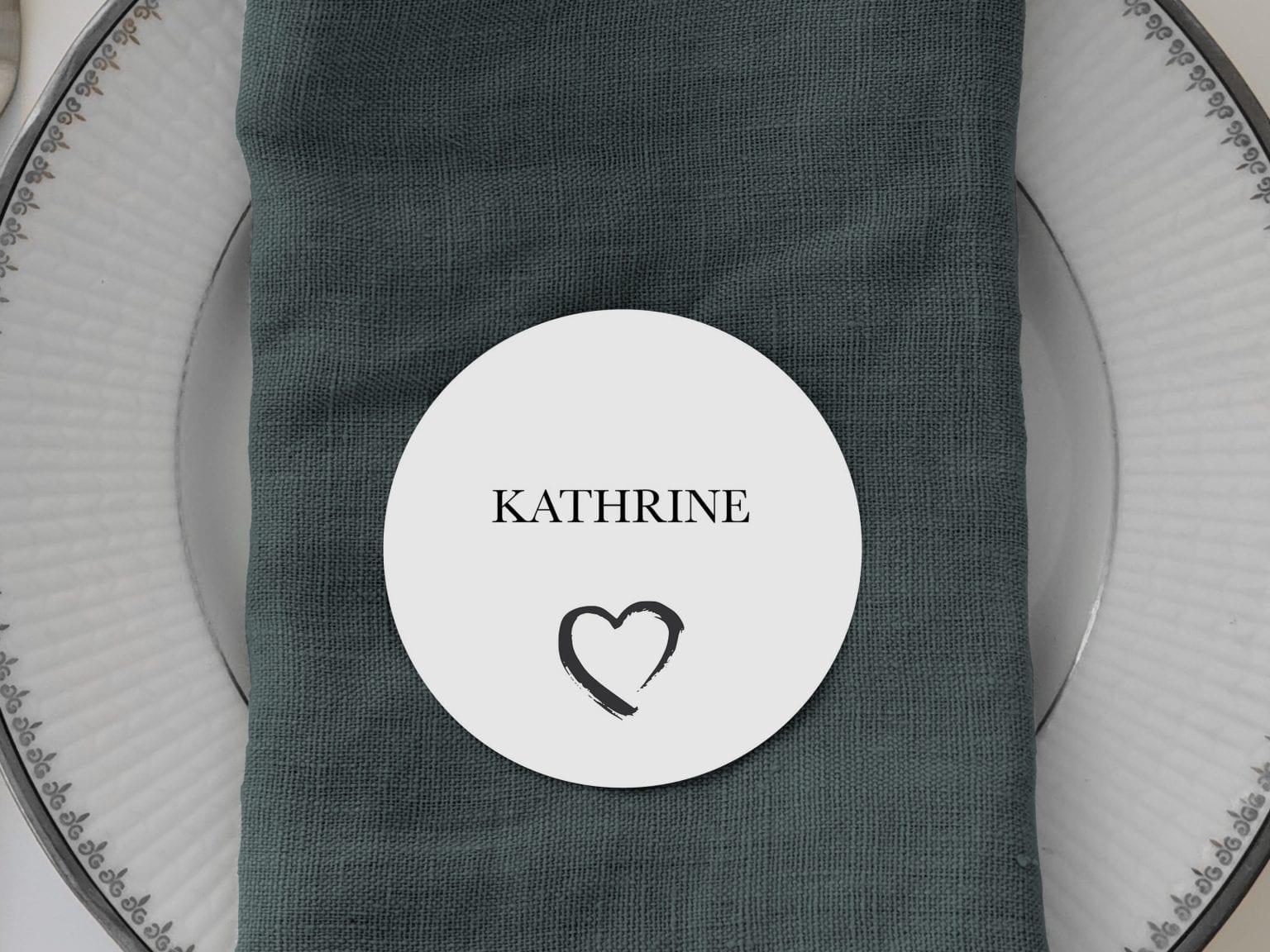 Grunge Heart, runde bordkort, bryllup
