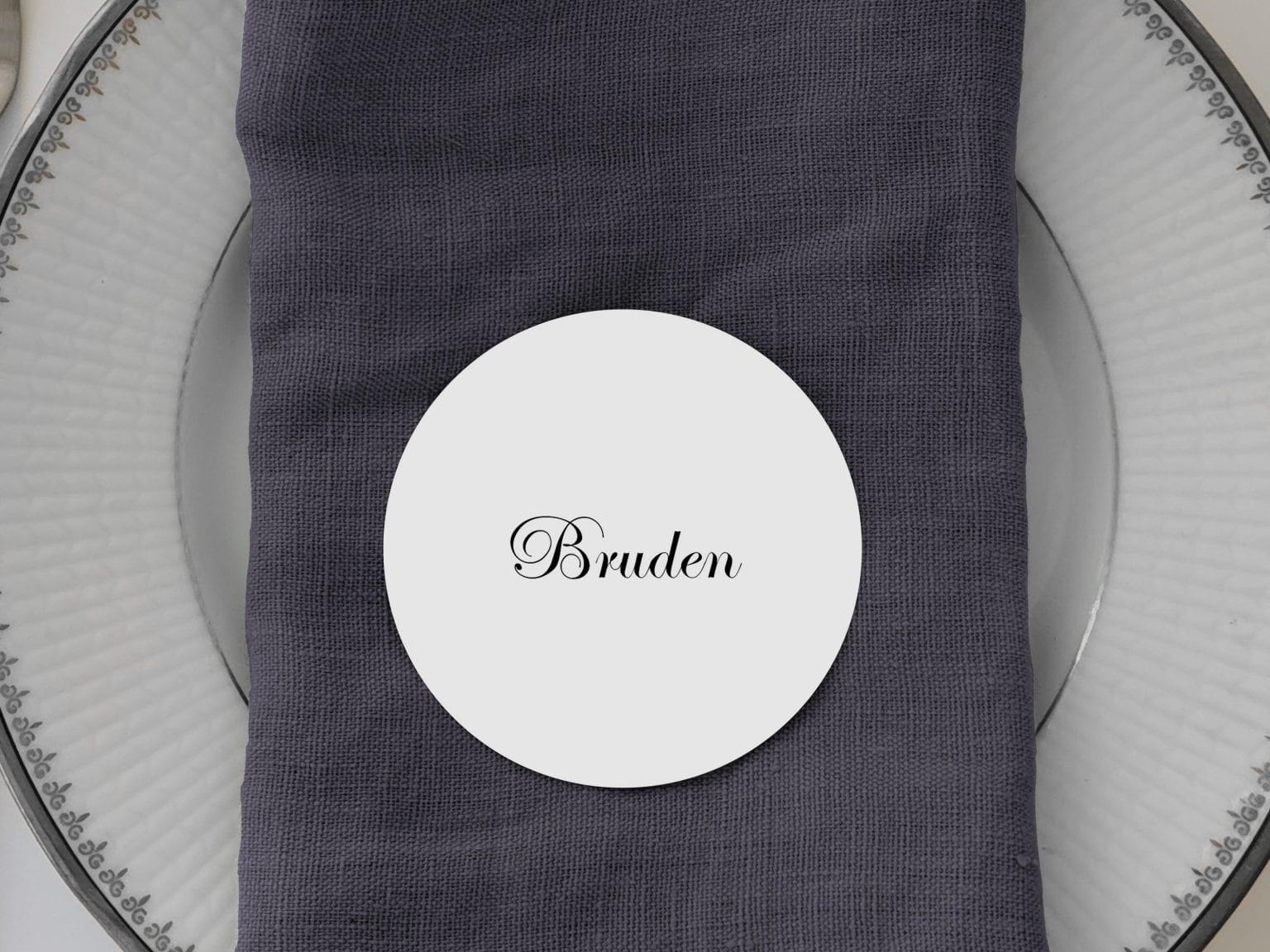 Kaligrafitti, runde bordkort, bryllup