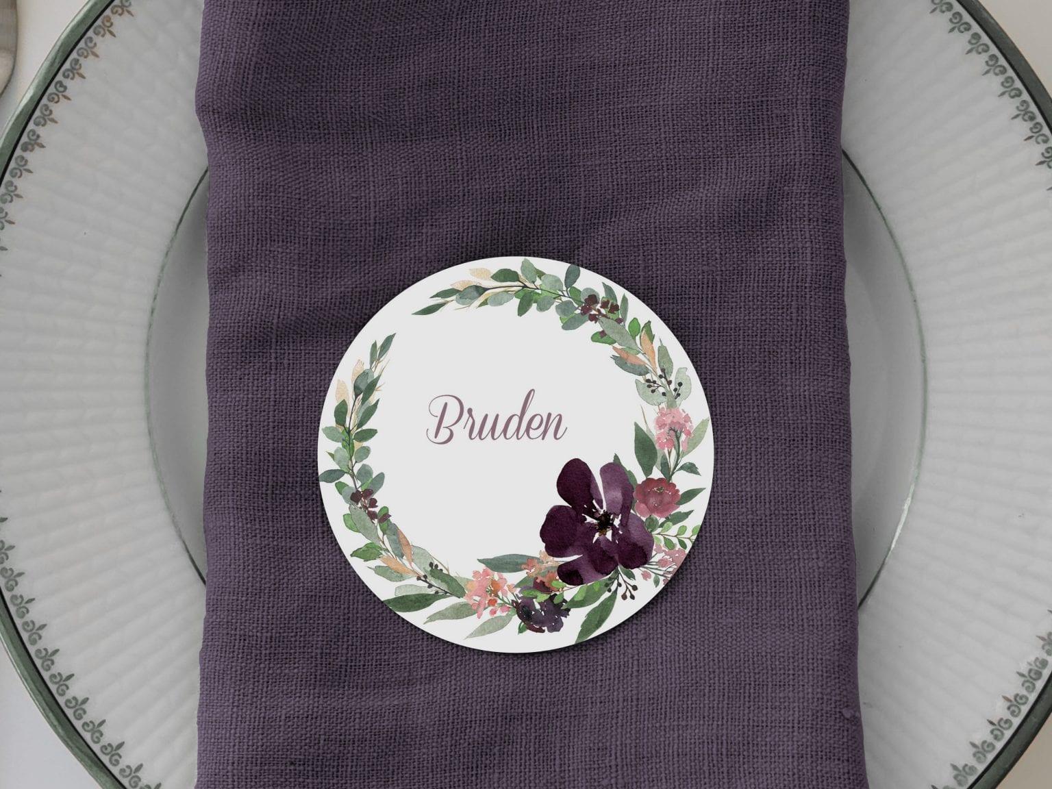 Blush Blossom, runde bordkort, bryllup