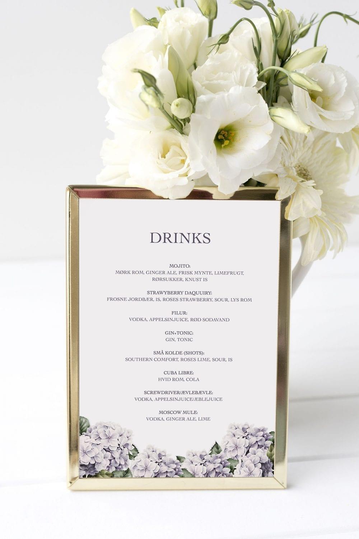 drinkskort, ramme, lavender hydrangea, bryllup