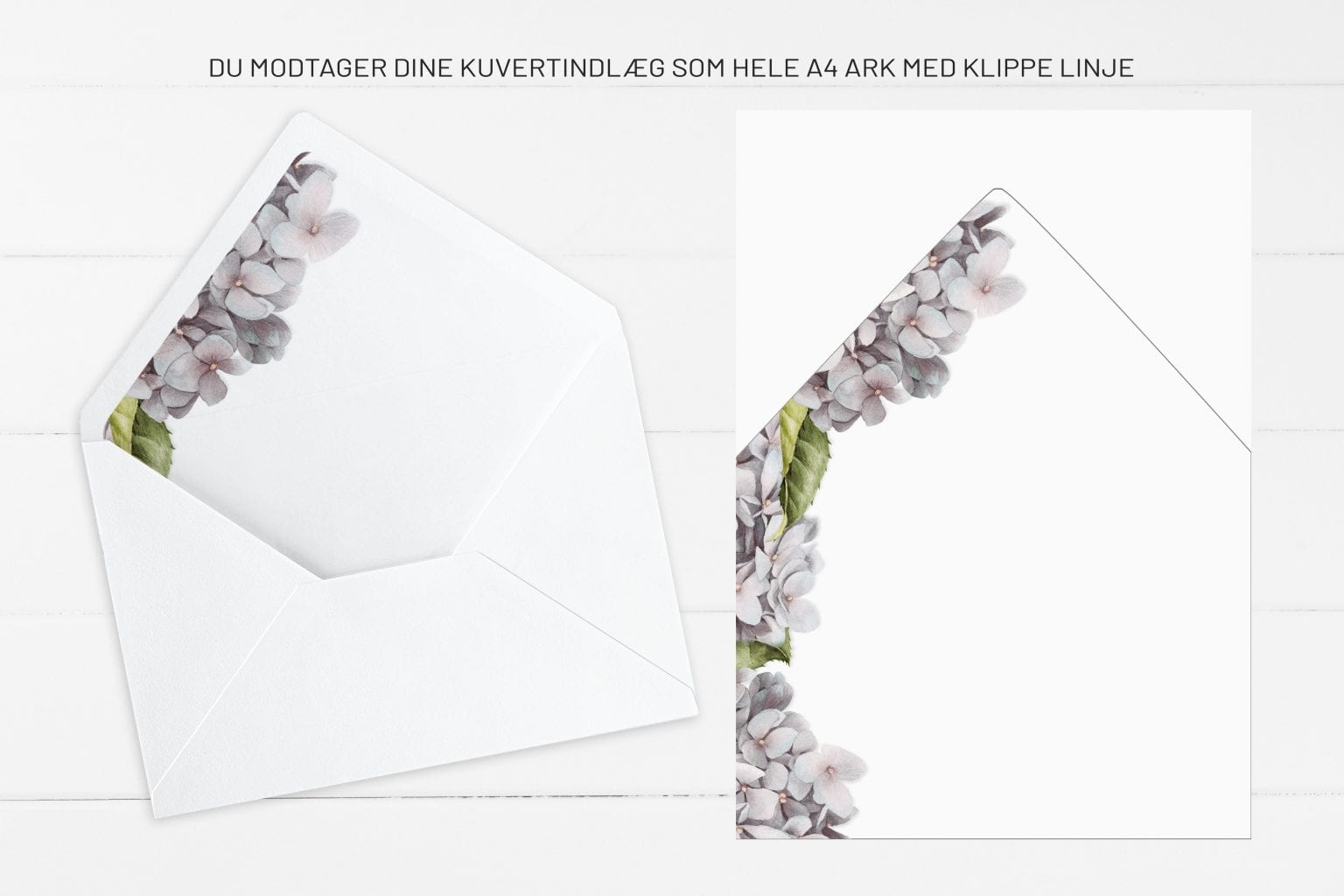 Lavender Hydrangea, kuvertindlæg, bryllup