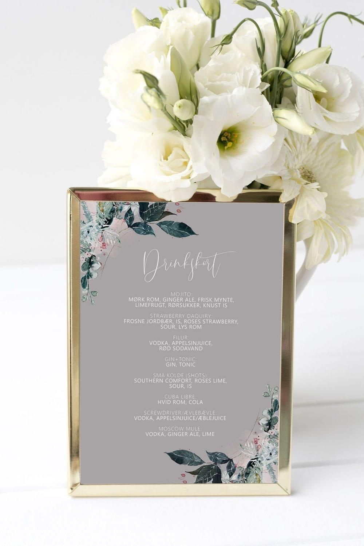 drinkskort, ramme, magical greys, bryllup
