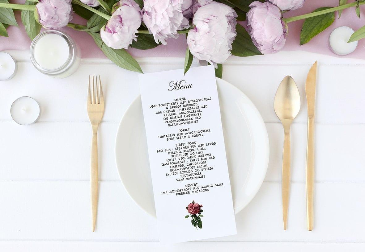 Vintage Floral menukort til bryllup