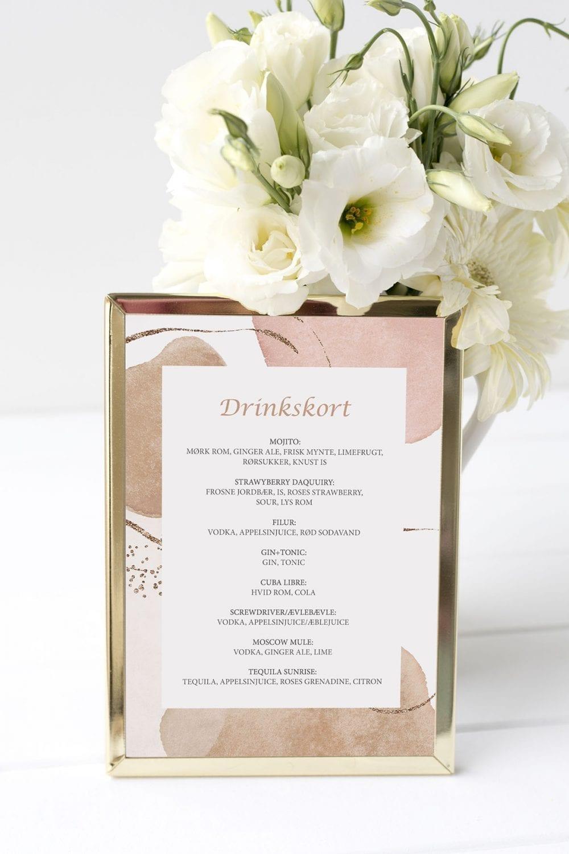 drinkskort, ramme, modern graphics, bryllup
