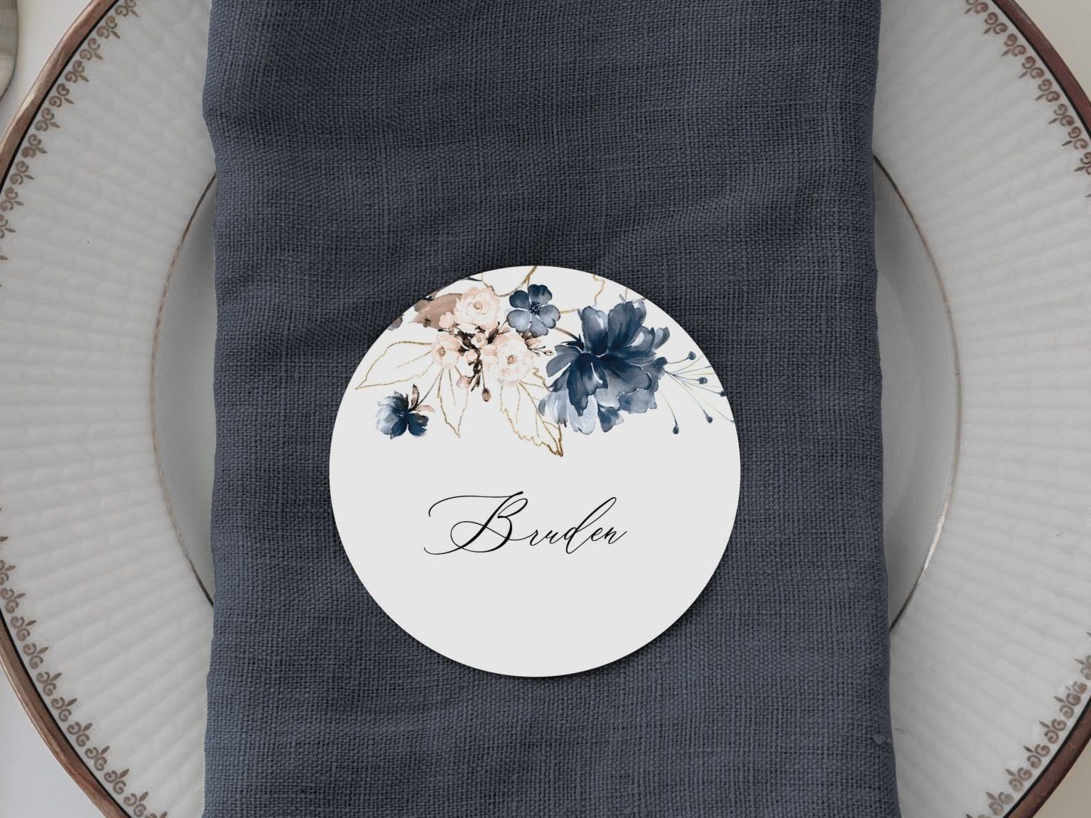 Navy Bloom, runde bordkort, bryllup
