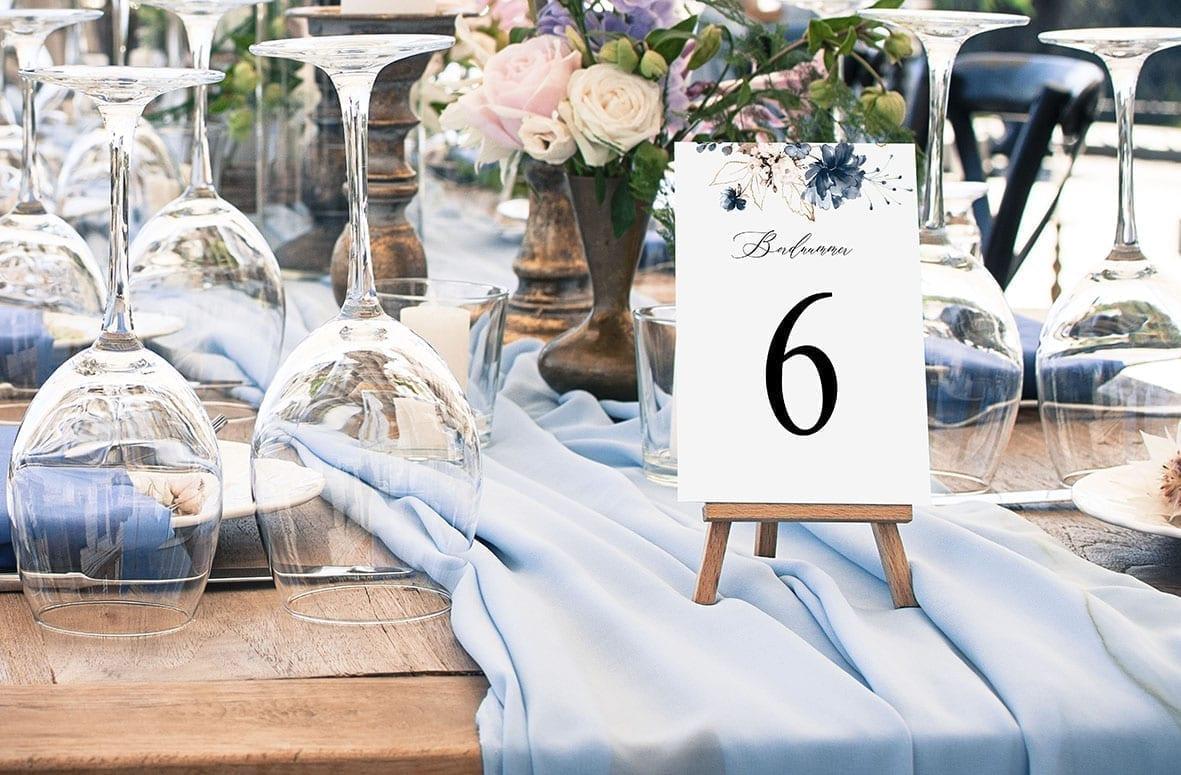 bordnummer, Navy Bloom, fest, pynt opdækning, bordopdækning