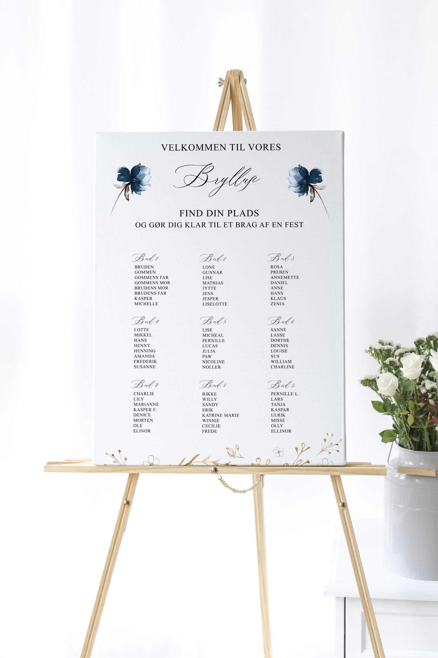 Navy Bloom, bordplan, bryllup