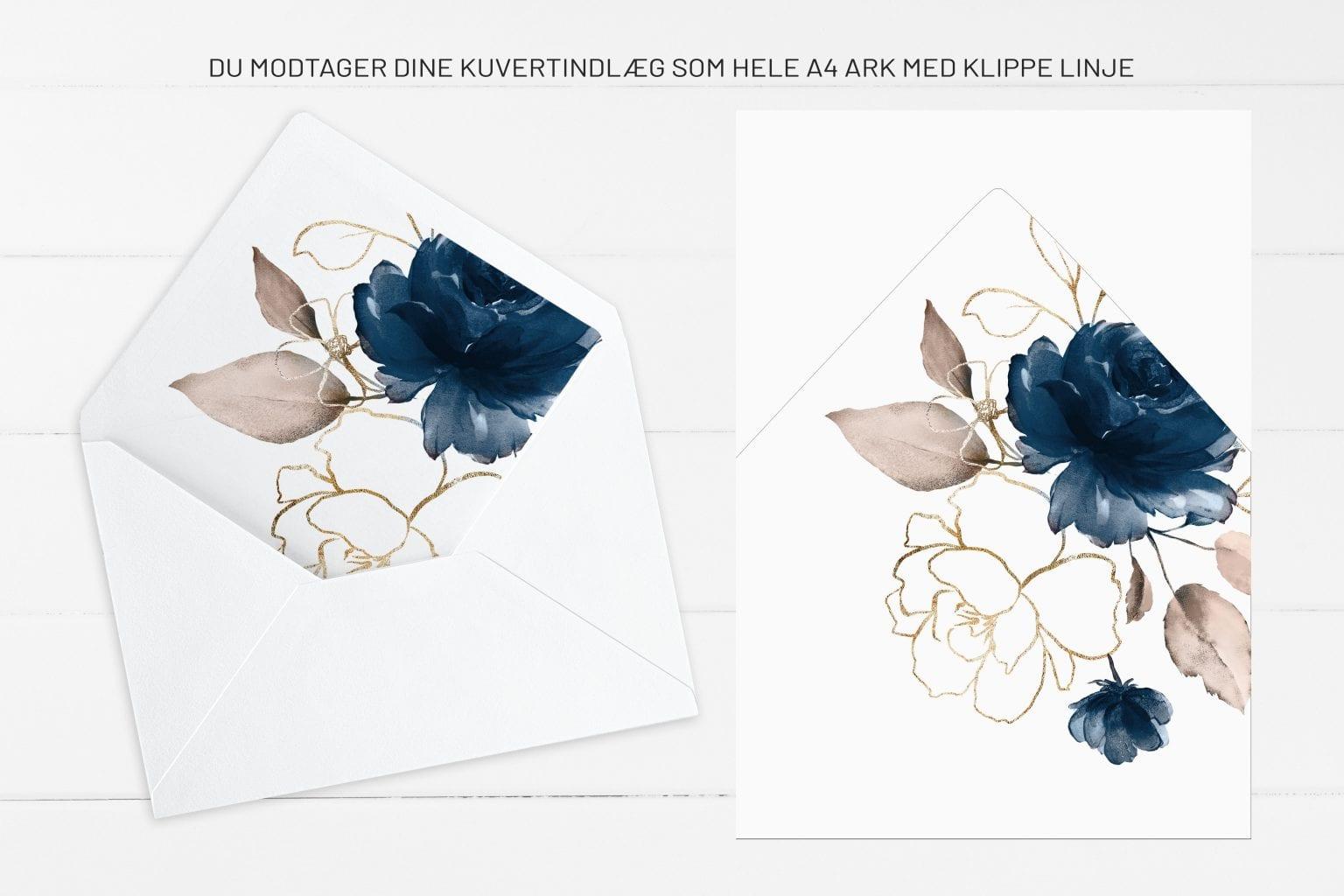 Navy Bloom, kuvertindlæg, bryllup